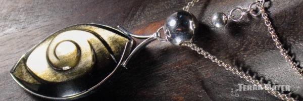 Obsidienne dorée du Mexique montage original en argent 925