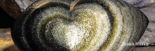 Coeur poli d' Obsidienne dorée du Mexique