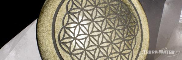 Pëndentif Fleur de vie gravée sur Obsidienne dorée du Mexique