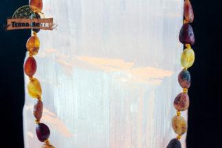 Collier bébé en perles calibrées dépolies de divers ambres de Lituanie