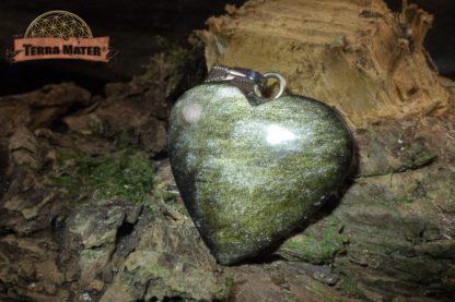 Pendentif coeur en obsidienne dorée