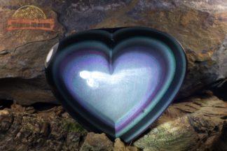Cœur d'obsidienne œil céleste taillé façon cabochon