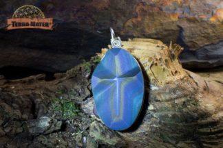 Pendentif croix en obsidienne oeil céleste