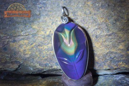 Pendentif fleur Obsidienne oeil céleste AAA