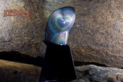 Coeur sur socle en Obsidienne Oeil Céleste AAA+