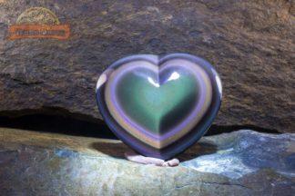 "Grand coeur poli en obsidienne oeil céleste qualité ""suprême"""