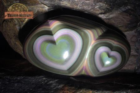 Grand coeur double en Obsidienne Oeil Céleste AAA