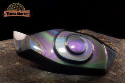 Cabochon spiralé en Obsidienne oeil céleste AAA