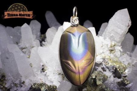 Pendentif fleur Obsidienne Oeil Céleste monté sur fil d'argent 925