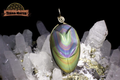 Pendentif fleur AAA en Obsidienne Oeil Céleste