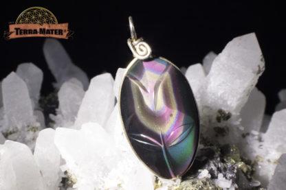 Pendentif fleur en Obsidienne oeil céleste AAA