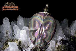 Pendentif papillon, oeil céleste qualité AAA (suprême), monture argent