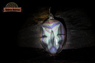 pendentif papillon en obsidienne Arc en Ciel (Oeil Céleste) AAA monture argent 925