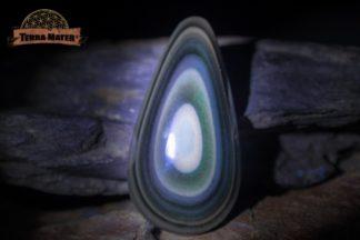 Cabochon en obsidienne oeil céleste du Mexique Qualité AA en forme de goutte