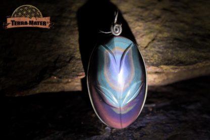 Pendentif en Obsidienne Oeil Céleste de qualité AAA - Suprême - Monture argent