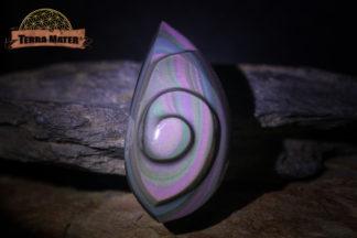 Cabochon spiralé en obsidienne arc en ciel AA