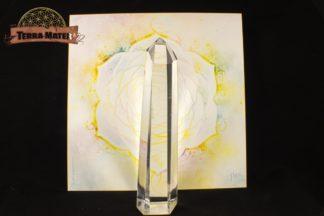 Magnifique pointe de cristal de roche surfacée, longue et fine, de 11,5 cm