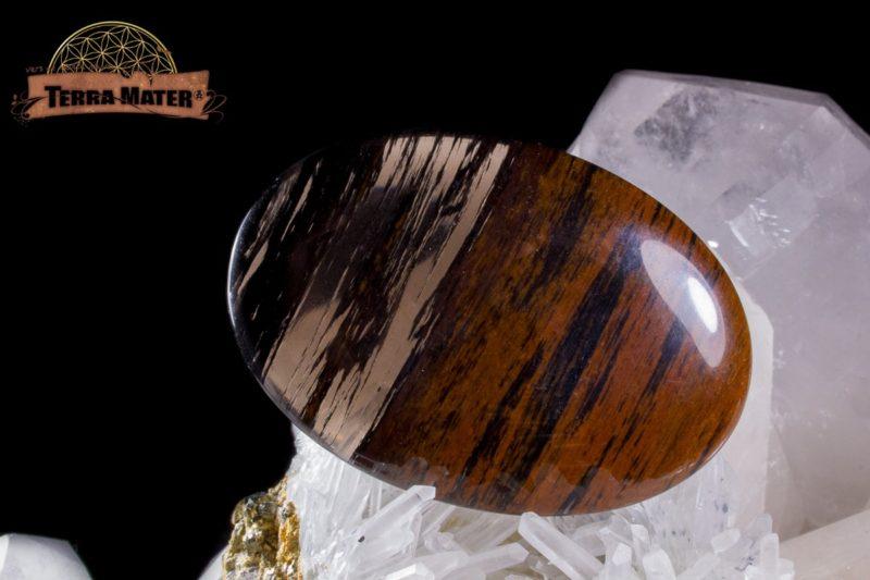 Galet fin à deux faces convexes en Obsidienne Acajou d'Arménie