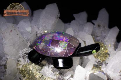 Tortue en obsidienne et opale