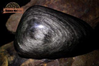 Grand Galet d'Obsidienne Argentée