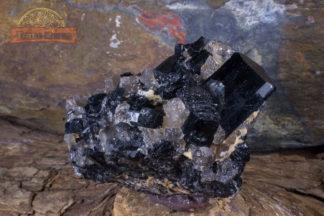 Groupe de cristaux de Tourmaline Noire sur matrice
