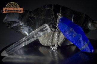 Pendule artisanal quartz laser et lapis lazuli AAA - pièce unique