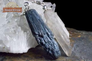 Pendule asymétrique avec compagnon en indicolite et quartz jumeau