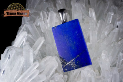 Petite plaque de lapis lazuli AAA montée sur acier inox